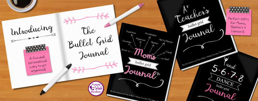 Bullet Grid Journals- Notebook with dot Grid pages for calendars, to-do and more. Great for Moms, Teachers, Dancers and More